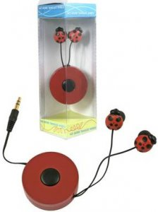 Retractable Ladybug Ear Buds