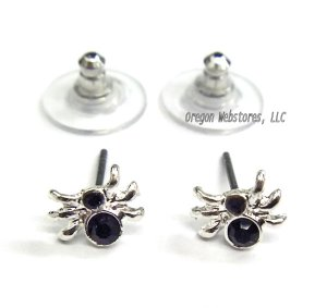 Black Stone Spider Earrings