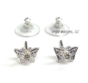 Silvertone & Crystal Butterfly Earrings