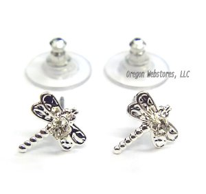 Silvertone & Crystal Dragonfly Earrings