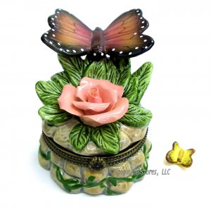 Butterfly on Rose Trinket Box