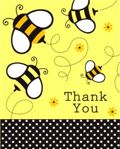 Buzzy Bumblebee Thank-You Cards, pk/8