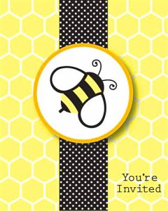 Buzzy Bumblebee Party Invitations, pk/8