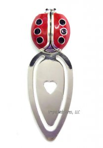 Ladybug Enameled Metal Bookmark