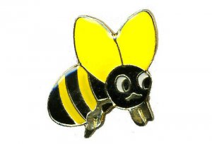 Enameled Brass Bee Hatpin