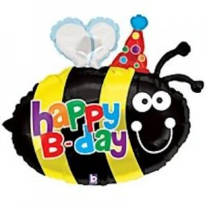 Happy B-day Bumblebee Shaped Balloon 27""