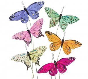 Six Assorted Large Butterfly Decorations
