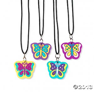 Rubber Butterfly Necklaces , set/4
