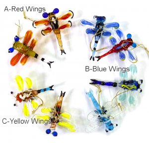 Handmade Glass Dragonfly Ornaments