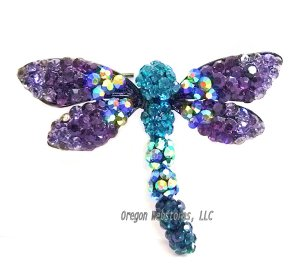 Purple Crystal Dragonfly Pin