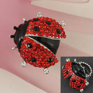 Giant Sparkly Crystal Ladybug Cocktail Ring
