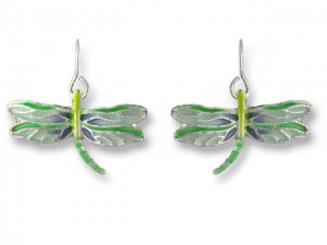 Turquoise Dragonfly Silverplate Enamel Earrings