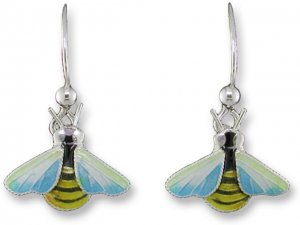 Tiny Bee Sterling Enamel Dangle Earrings