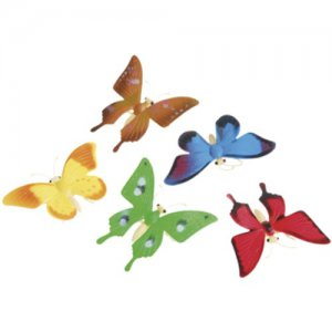 Assorted Colorful Plastic Butterflies, pk/12